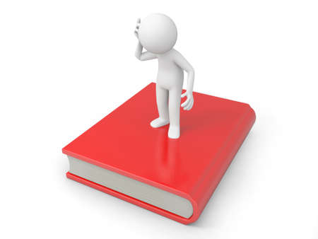 e learnig: A 3d man thinking , sitting on a book