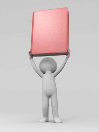 e learnig: A 3d man carrying a book over his head
