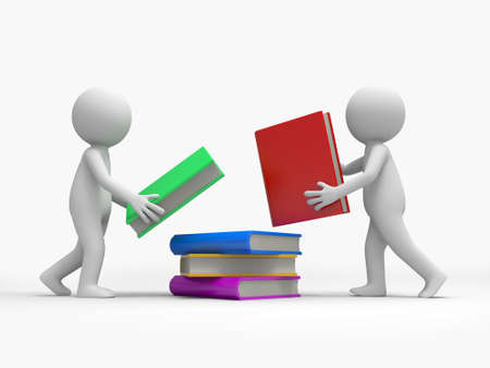 Two 3d persons heaping a stack of books together photo