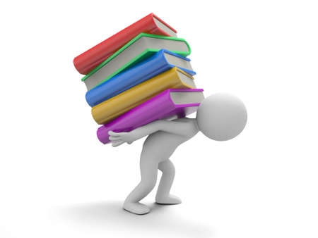 A 3d man carrying a stack of books heavily photo