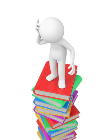 A 3d person thinking on a stack of books photo