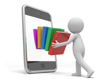 putting: A 3d person putting a stack of books into the mobile phone