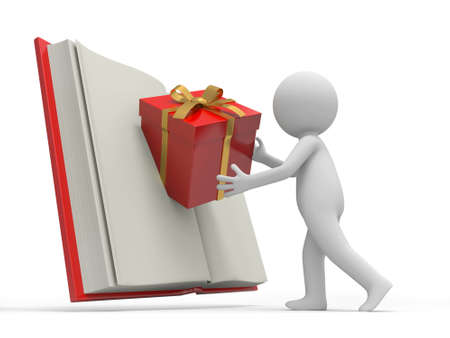 A 3d person putting a gift box into a book photo