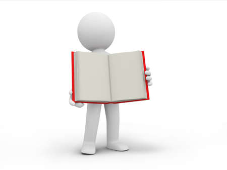 e learnig: A 3d person carrying an opened book