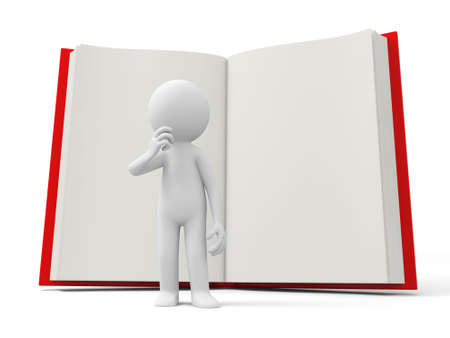 e learnig: A 3d person thinking back to an opened book  Stock Photo