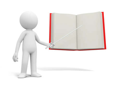 A 3d person pointing at an opened book photo