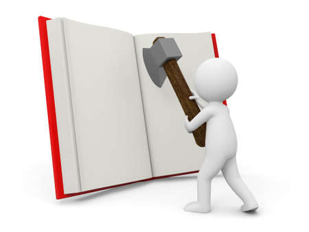 e learnig: A 3d person cutting an opened book with an axe