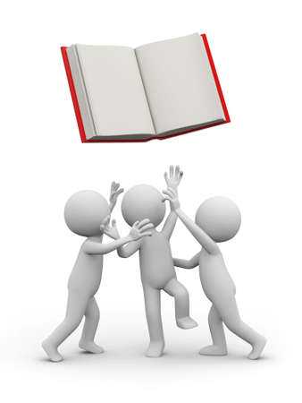 e learnig: Three 3d persons snatching an opened book Stock Photo
