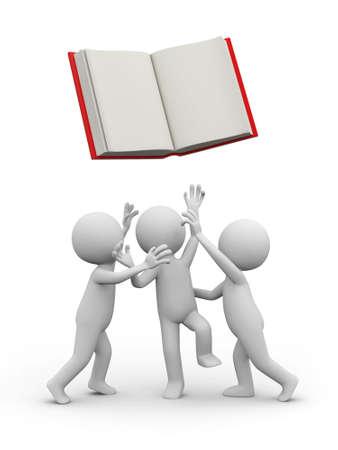 individui: Tre persone 3d strappando un libro aperto Archivio Fotografico