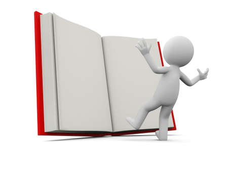 e learnig: A 3d person surprised by an opened book Stock Photo
