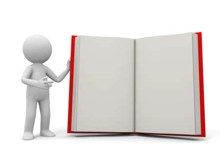 e learnig: A 3d person introducing the book to the people Stock Photo