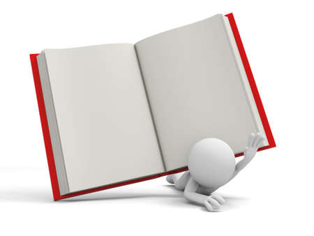 e learnig: A 3d person pressed by a red opened book