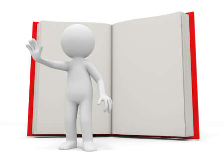 e learnig: A 3d person stopping the people back to an opened book