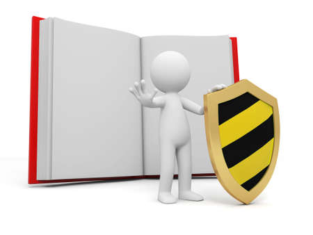 e learnig: A 3d person stopping the people with a shield board back to a book