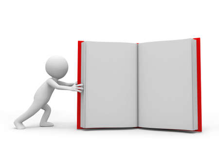 e book: A 3d person pushing an opened book Stock Photo
