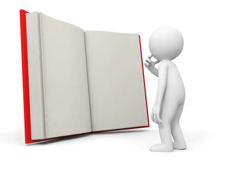 e learnig: A 3d person thinking face to an opened book Stock Photo