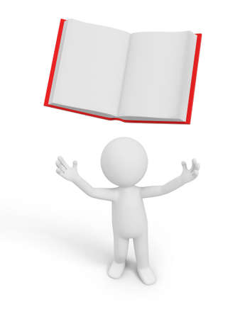 e learnig: A 3d person looking upon an opened book