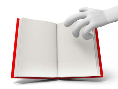 e learn: A 3d hand taking an opened book