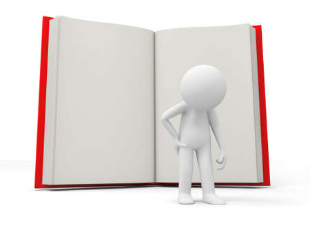 e learnig: A 3d person losing his spirits back to an opened book