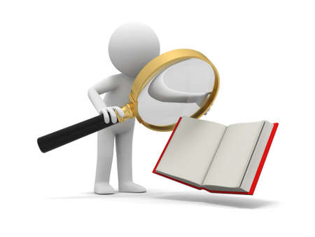 e learnig: A 3d person watching an opened book with a magnifying glass
