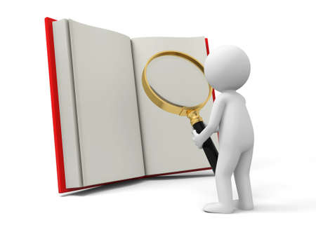 manual: A 3d person watching an opened book with a magnifying glass