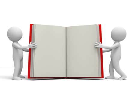 Two 3d persons carrying an opened book Stock Photo - 19228754