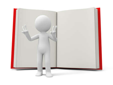 e learnig: A 3d person making a V gesture back to a book Stock Photo