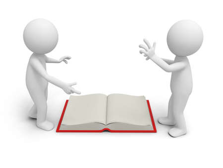 e learnig: Two 3d persons discussing ,an opened book between them