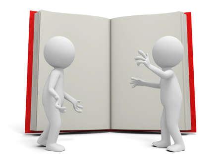 marioneta: Dos personas 3d discutir, un fondo de libro abierto