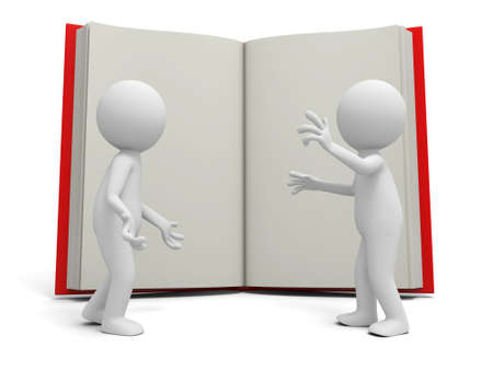 e learnig: Two 3d persons discussing ,an opened book background