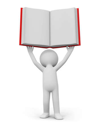 e learnig: A 3d person raising a book over his head