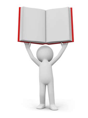 e learnig: A 3d person raising a book over his head