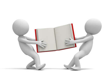 Two 3d persons snatching an opened book Stock Photo - 19228713