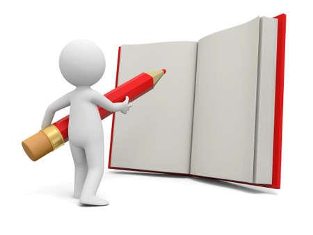 persona escribiendo: Una persona 3d escribir con un l�piz en un libro Foto de archivo