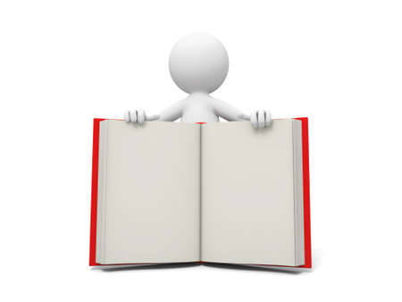 e learnig: A 3d person showing an opened book to the people