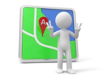 3d person: Una persona 3d que hace un gesto V de nuevo a un navegador