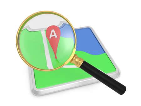 land mark: A navigator and a magnifying glass  Land mark Stock Photo
