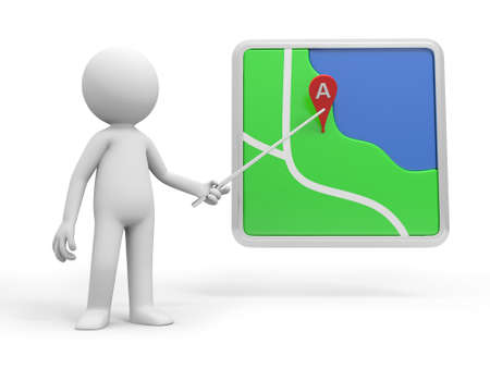 route map: A 3d person pointing at a navigator with a stick