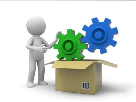 gear box: A 3d person taking a gear from a box