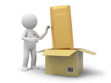 A 3d person taking a gold bar from a box photo