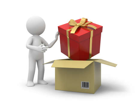 courier service: A 3d person taking a gift box from a box