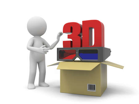 courier service: A 3d person taking a 3d film symbol from a box