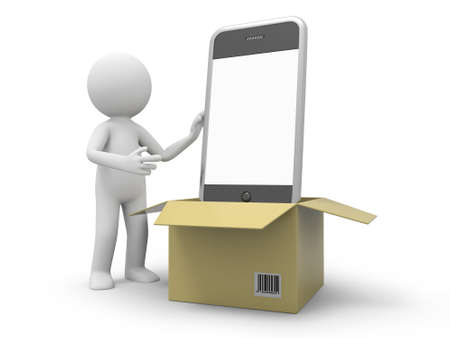 A 3d person taking a mobile phone from a box Stock Photo - 19253527