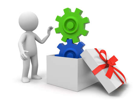gear box: a 3d person taking a gear from a gift box Stock Photo