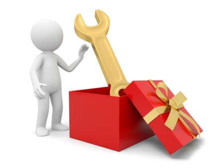 una 3 ? persona tomando una llave de una caja de regalo Foto de archivo - 19253681