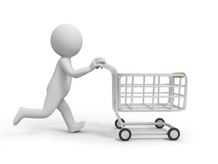chrome cart: A 3d person pushing a shopping cart, shopping