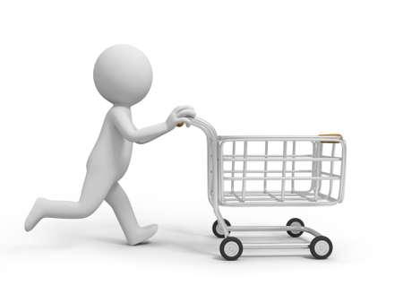 A 3d person pushing a shopping cart, shopping
