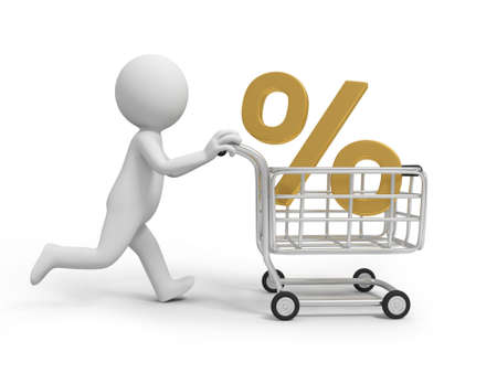 A 3d person  a percent symbol in the shopping cart photo