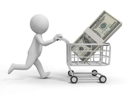 shiny icon: A 3d person  a pile of money in the shopping cart Stock Photo