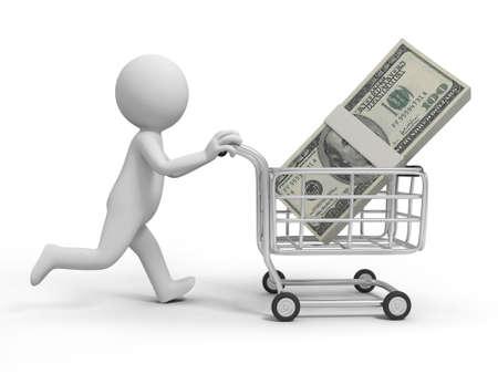 mujer en el supermercado: Una persona 3d de un montón de dinero en la cesta de la compra